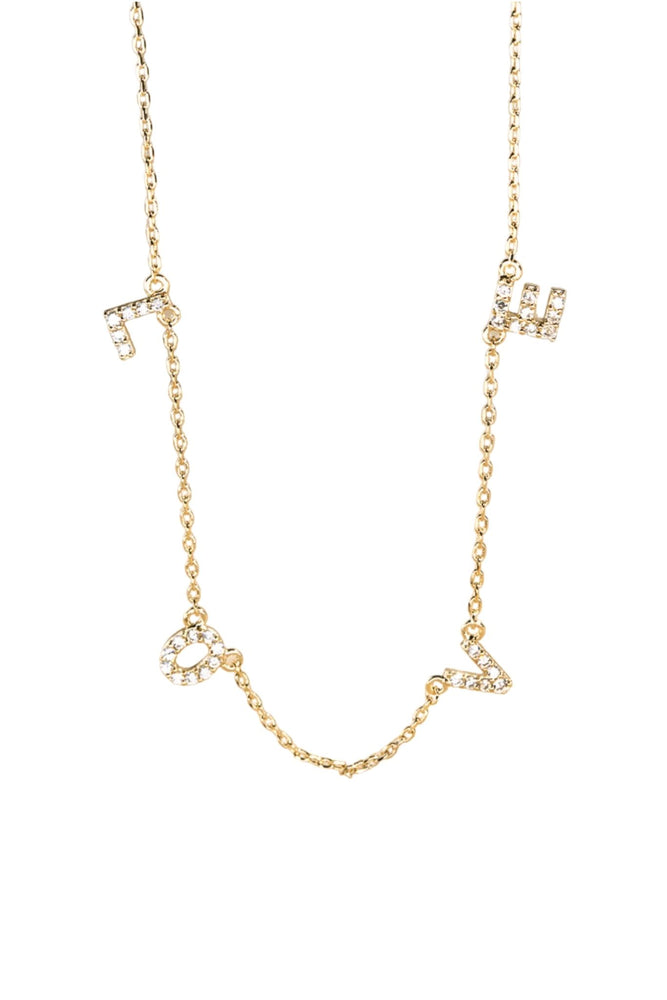 Load image into Gallery viewer, gold-and-rhinestone-love-necklace-delicate-necklace-love-necklace-valentines-day-jewelry-shop-style-your-senses-mallory-fitzsimmons-style-your-senses