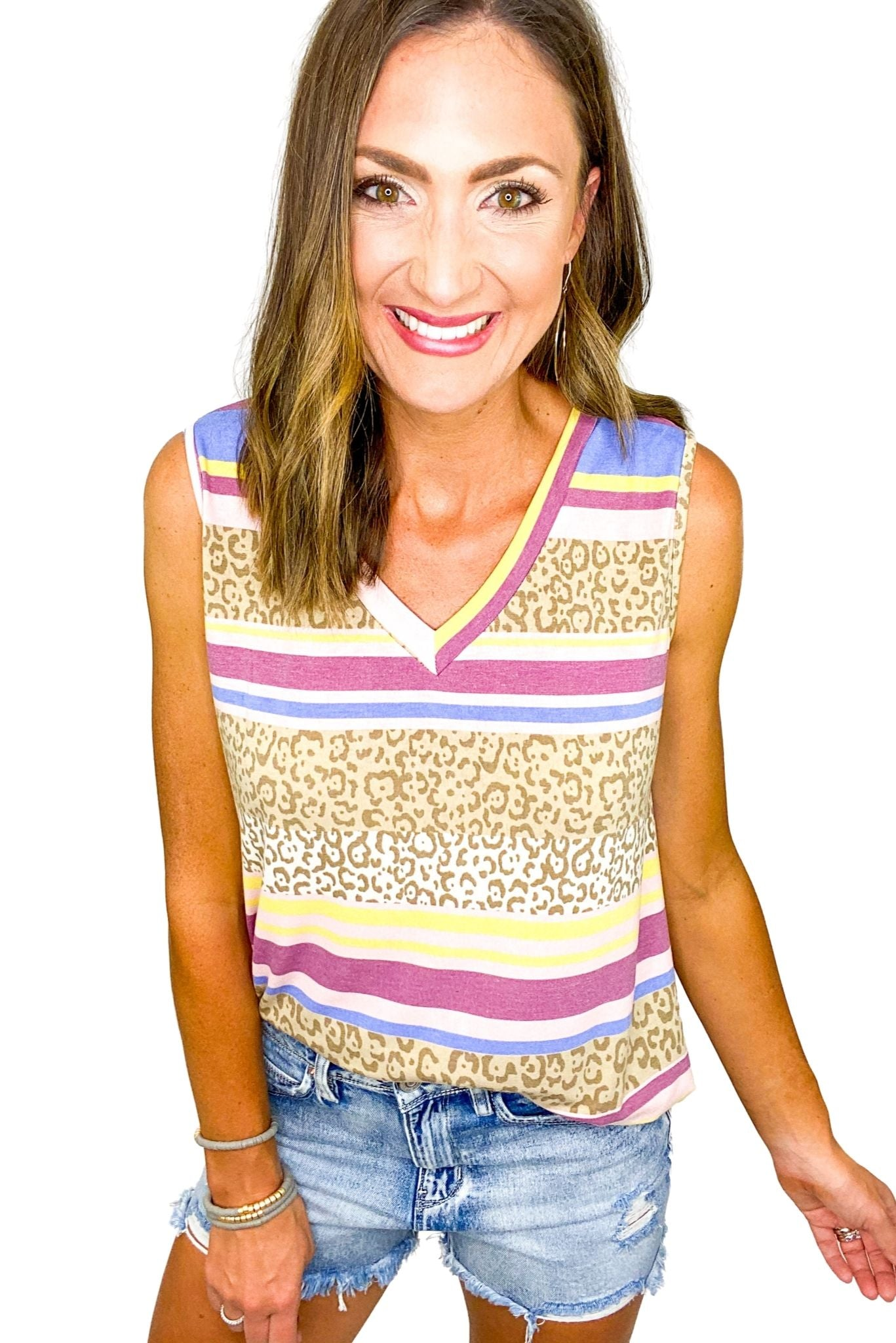 Animal Print and Stripe V Neck Tank