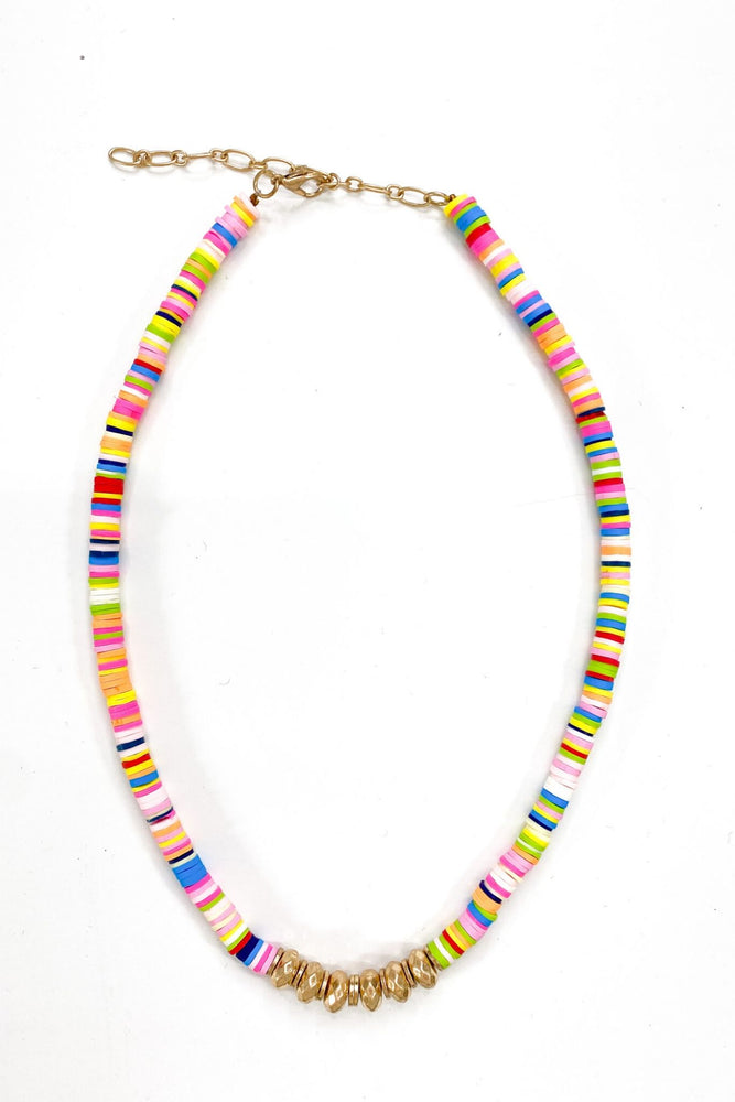 Colorful Beaded Disc Necklace w/ Gold Bead Accents