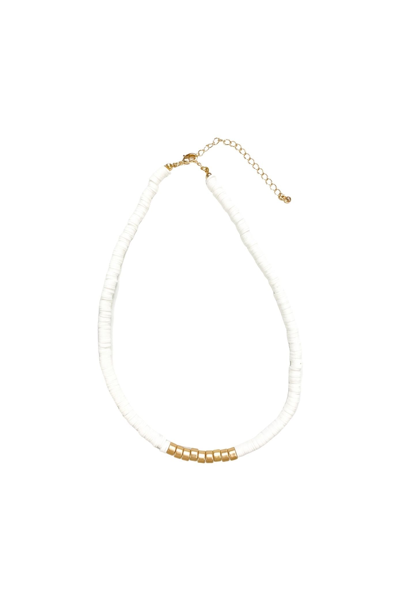 White Disc Short Necklace w/ Gold Accent Beads
