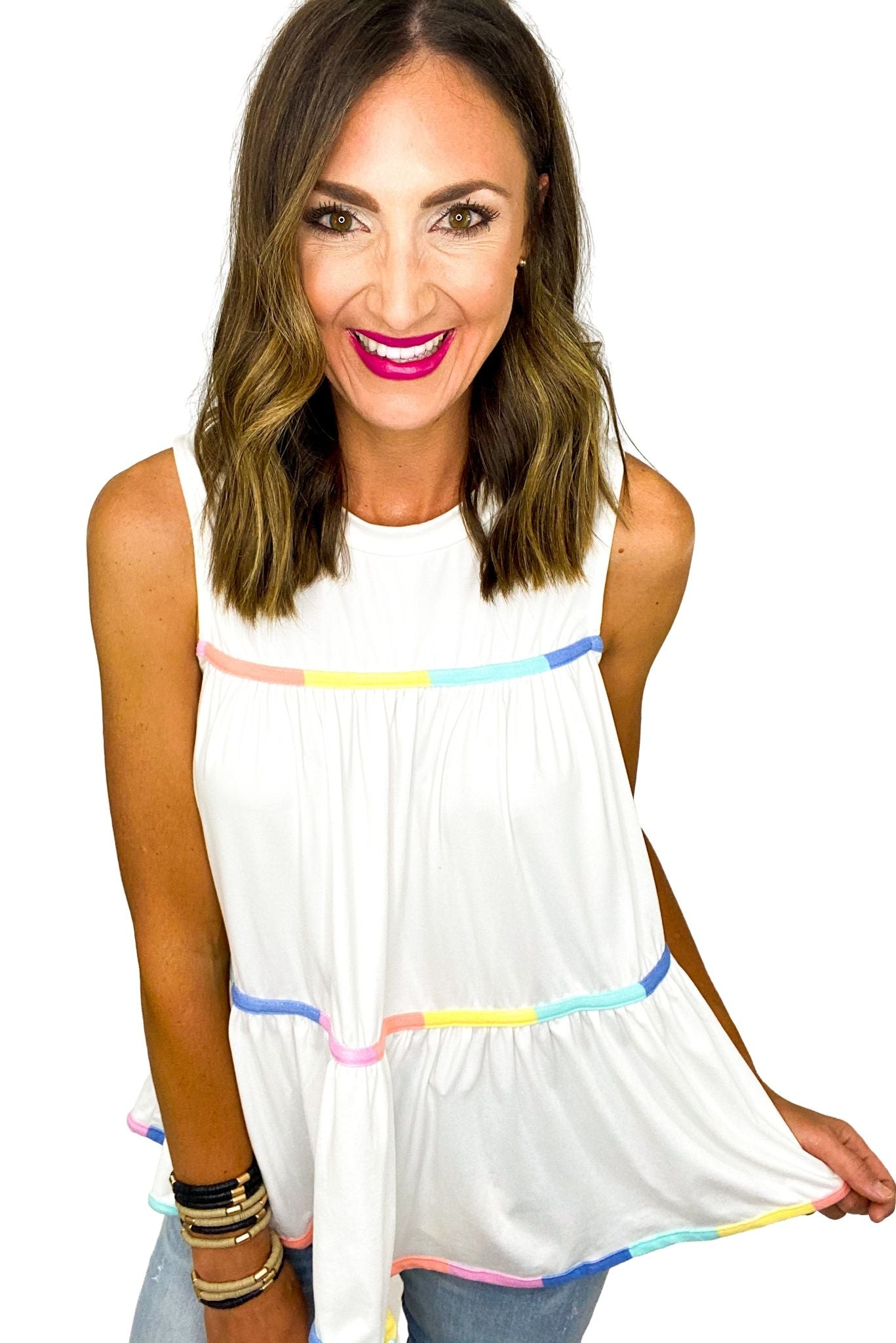 Off White Babydoll Top w/ Colorful Stripe Detail