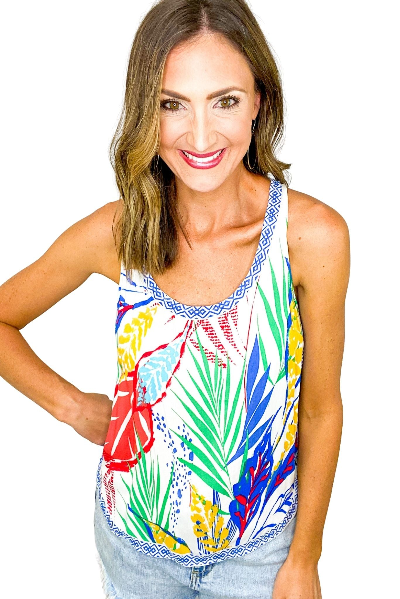 Colorful Abstract Palm Print Tank *FINAL SALE*