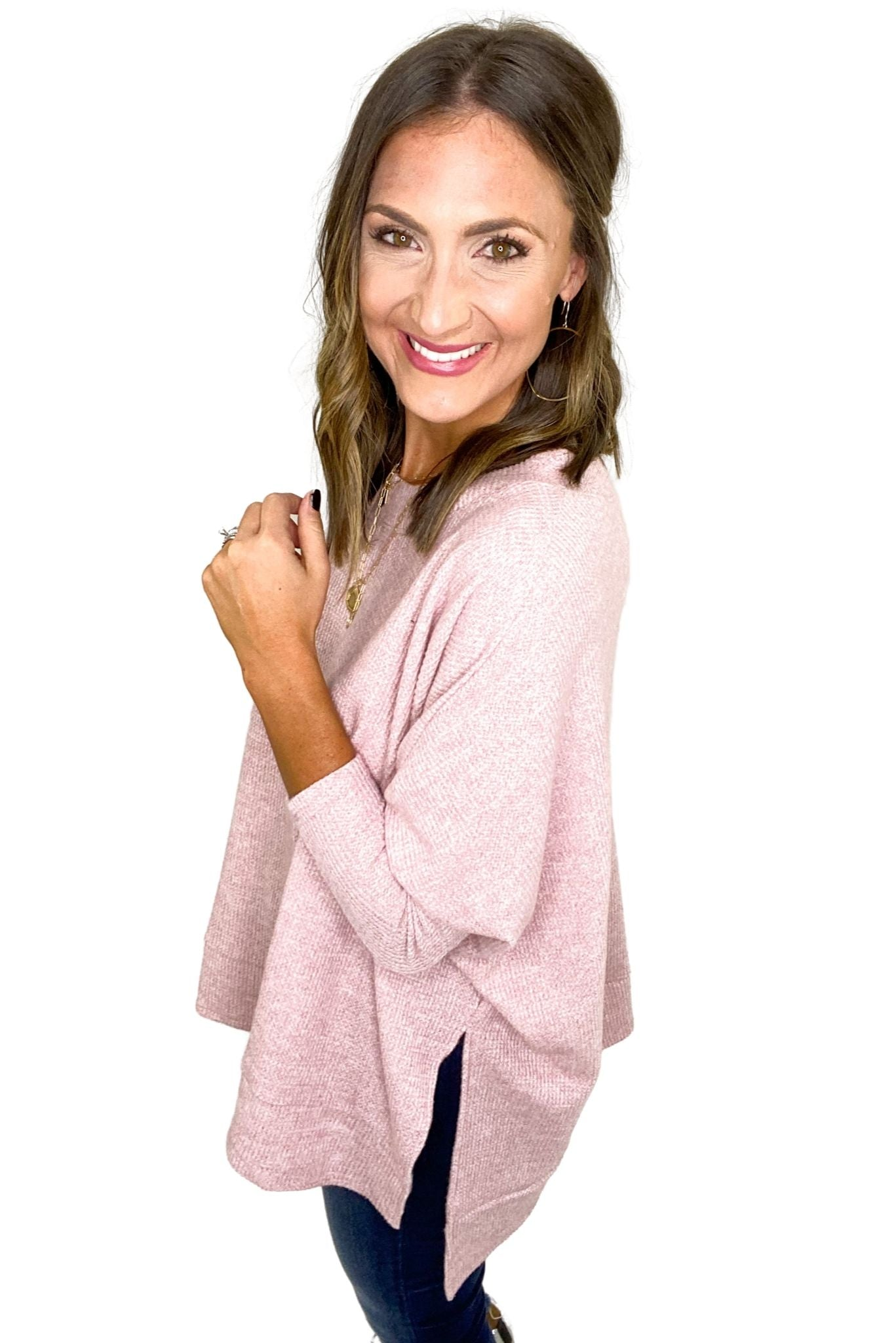 Dusty Pink Thermal Boxy Top