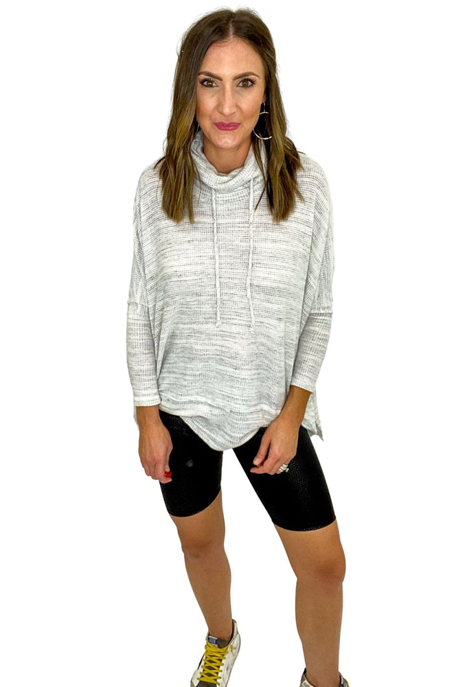 Heather Grey Brushed Marbled Knit Drawstring Neck Top *FINAL SALE*