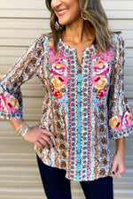 Mocha Scale Print Bell Sleeve Top w/ Embroidery