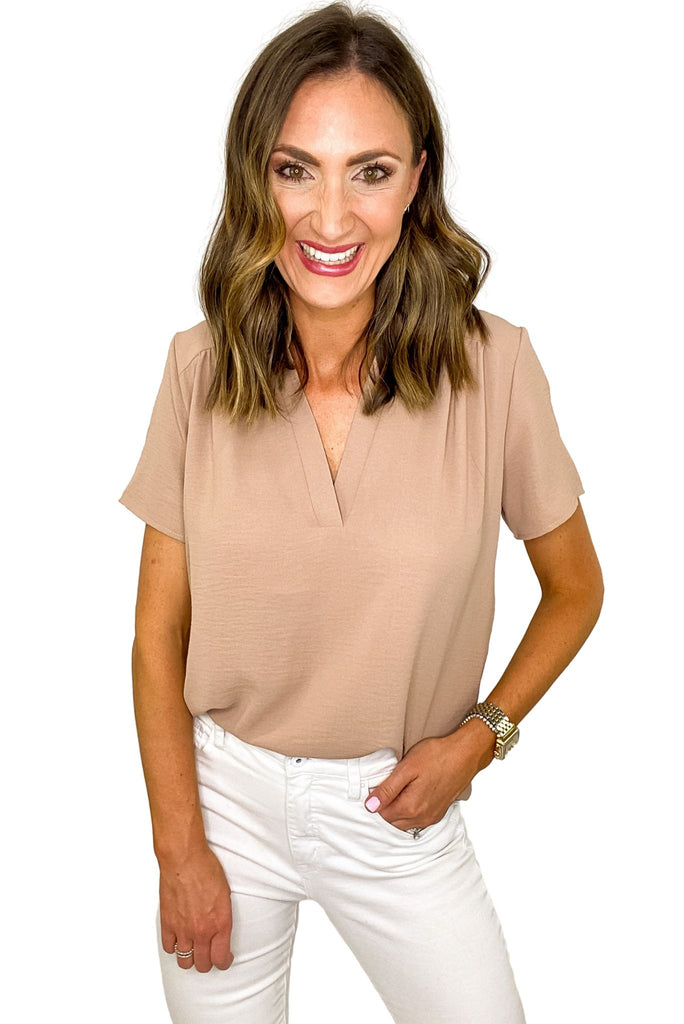 Latte V Neck Short Sleeve Top