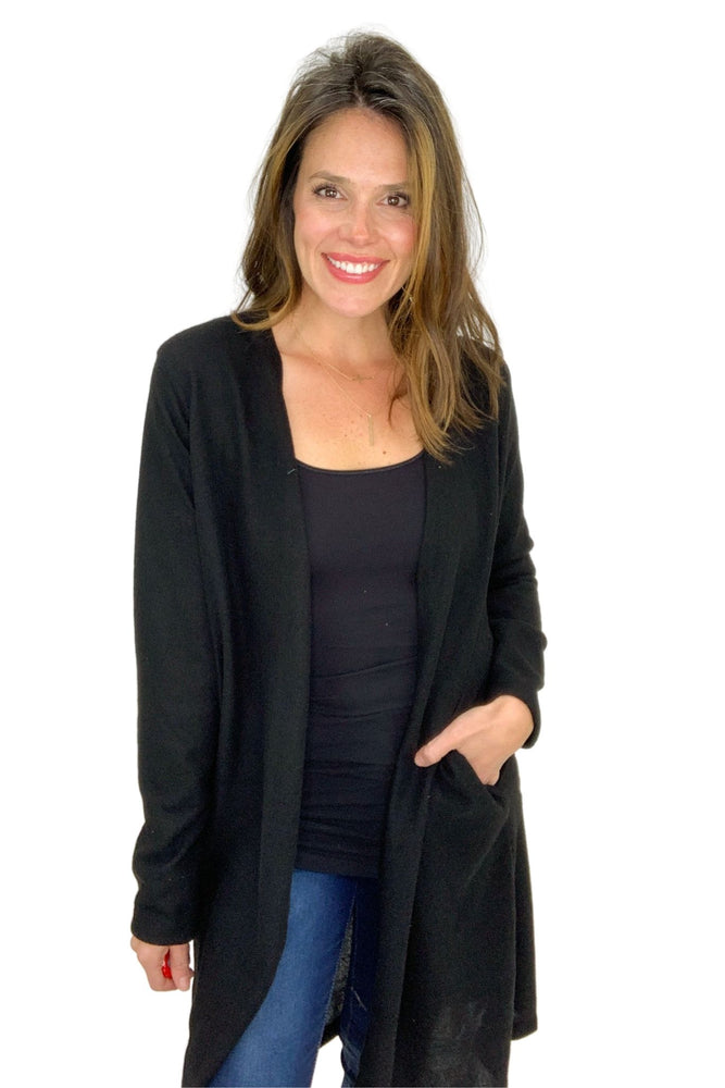 black cozy long cardigan, skinny jeans, winter wear, shop style your senses by mallory fitzsimmons