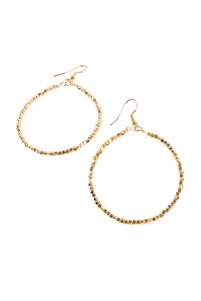Fully Seed Bead Bright Gold Hoop Earrings