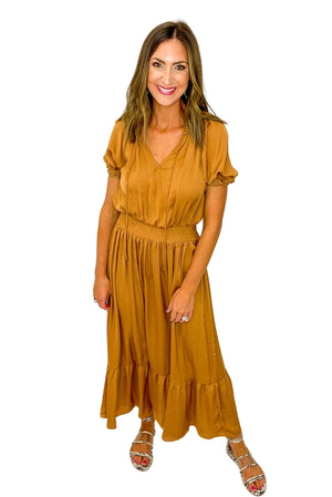 Rust Smocked Waist Maxi Dress *FINAL SALE*