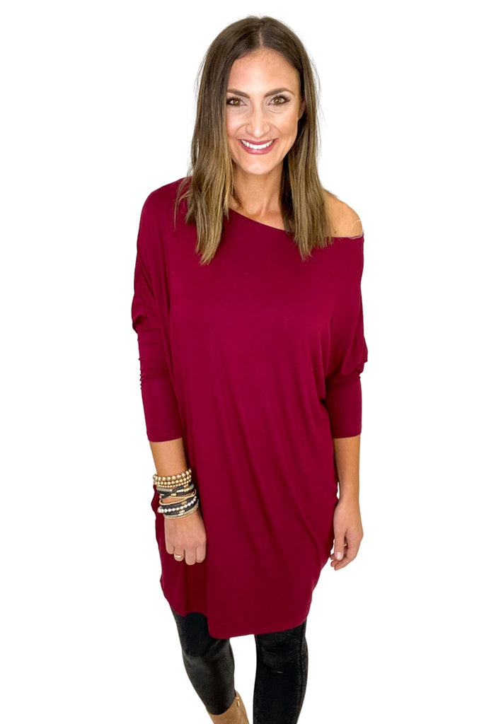 Burgundy Casual Dolman Sleeve Knit Dress