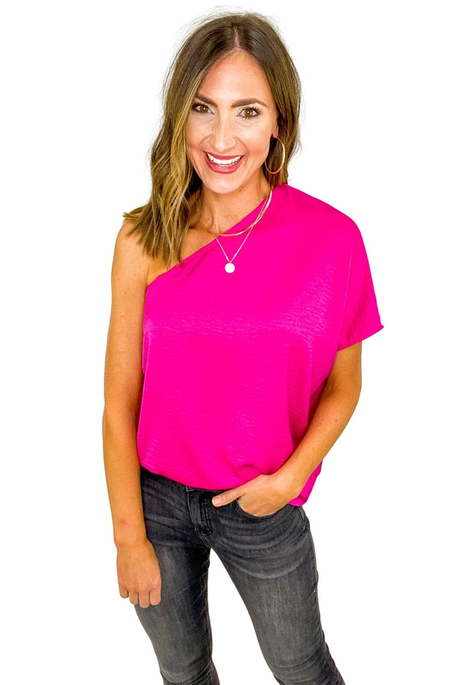 Load image into Gallery viewer, Hot Pink One Shoulder Textured Top *FINAL SALE*