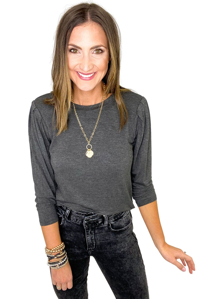 Charcoal Jersey Knit Top w/ Shoulder Pads *FINAL SALE*