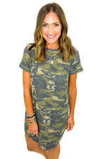Camo French Terry Short Sleeve Dress
