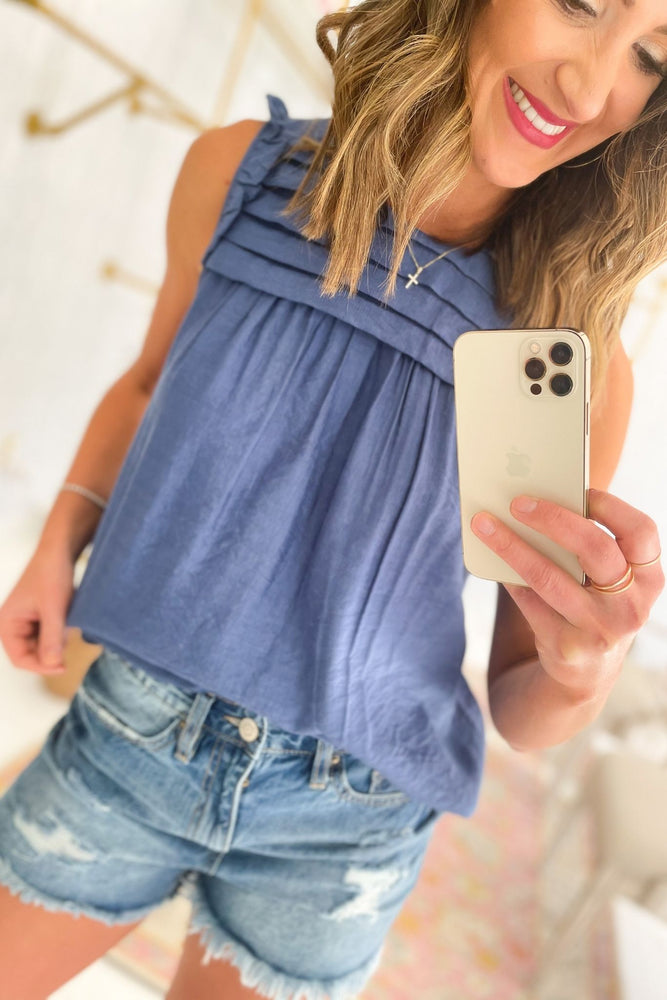 blue pleated bib mini ruffle sleeve top, distressed denim shorts, spring tops, shop style your senses by mallory fitzsimmons
