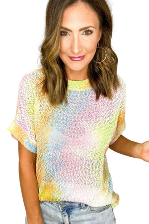 Load image into Gallery viewer, Bright Tie Dye Popcorn Knit Top *FINAL SALE*
