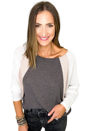 Load image into Gallery viewer, Charcoal Tan and Cream Waffle Knit Dolman Sleeve Color Block Top *FINAL SALE*