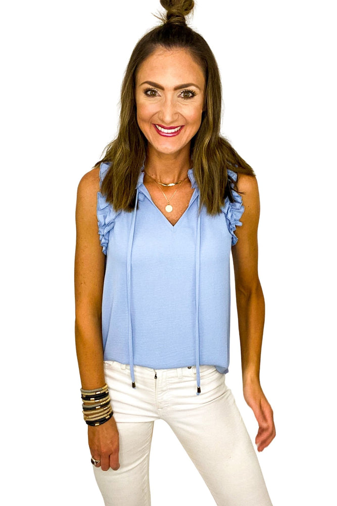 Light Blue Ruffle Hem Neck Tie Top *FINAL SALE*