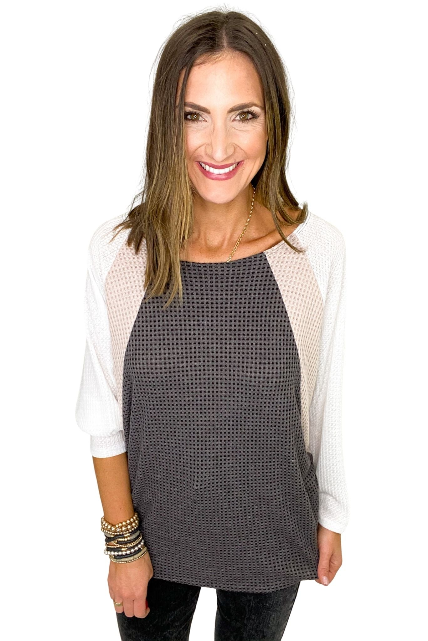 Charcoal Tan and Cream Waffle Knit Dolman Sleeve Color Block Top