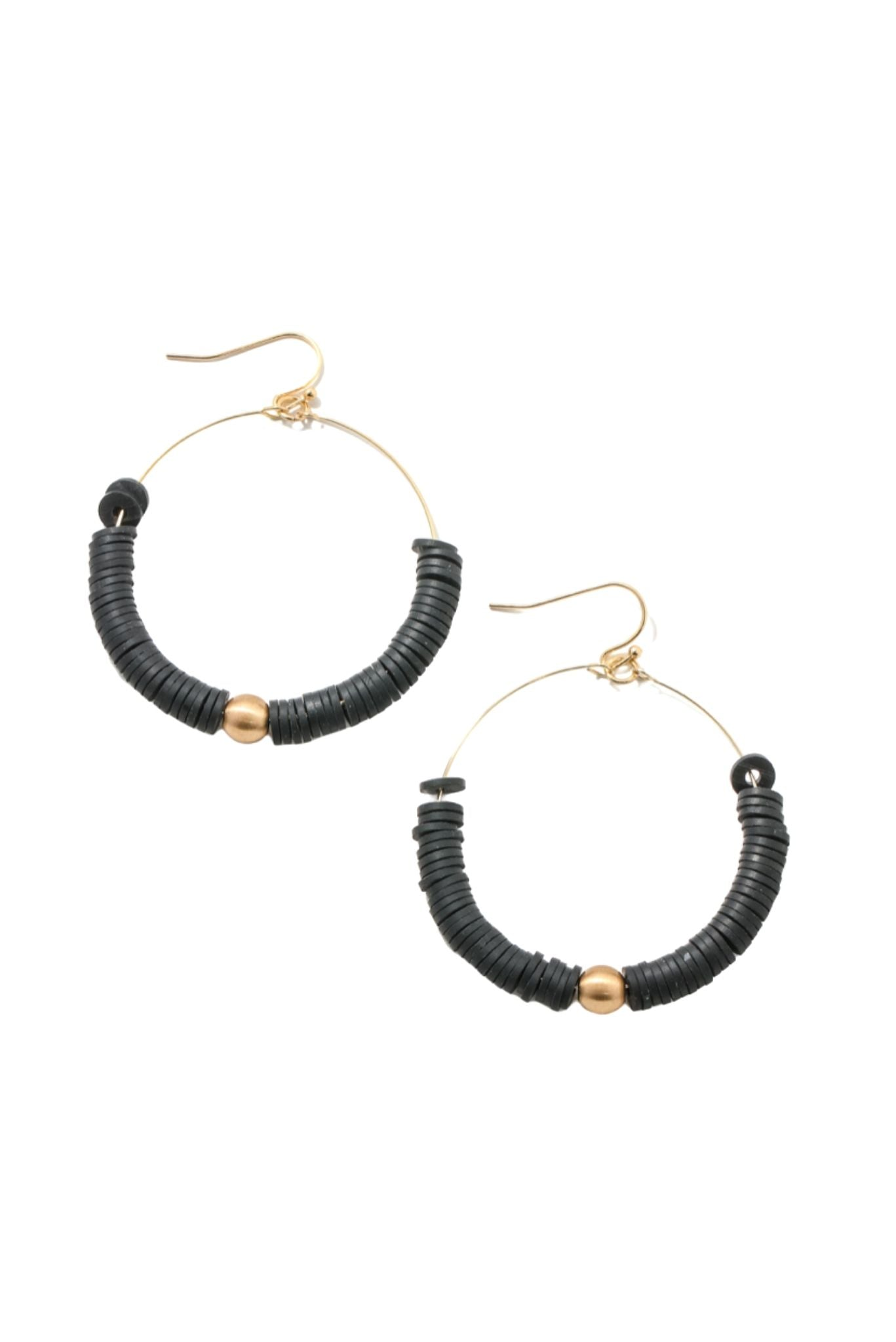 Black Disc Hoops w/ Gold Bead
