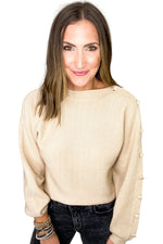 Beige Sweater w/ Buttons Down Sleeve
