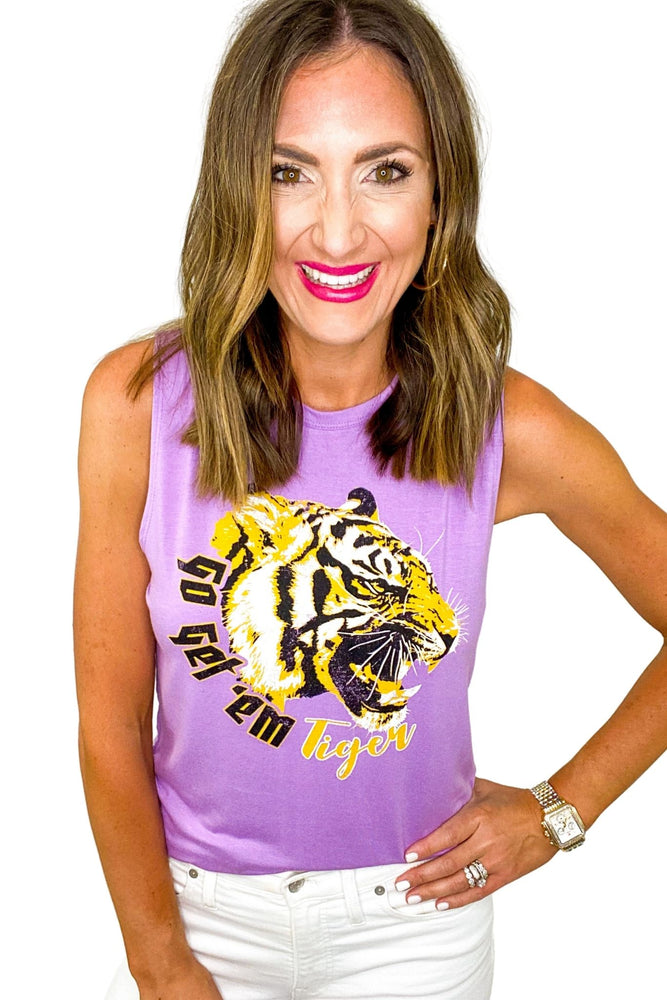 "Purple ""Go Get 'Em Tiger"" Graphic Tank"