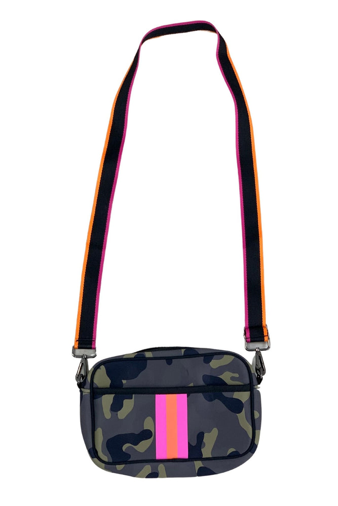 camo neoprene bag with pink and orange strips, crossbody bags, affordable style, shop style your senses by mallory fitzsimmons