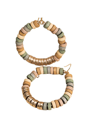Muted Tone and Gold Wooden Bead Hoop Earrings