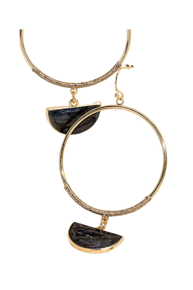 Black Half Moon Charm Hoop Earrings