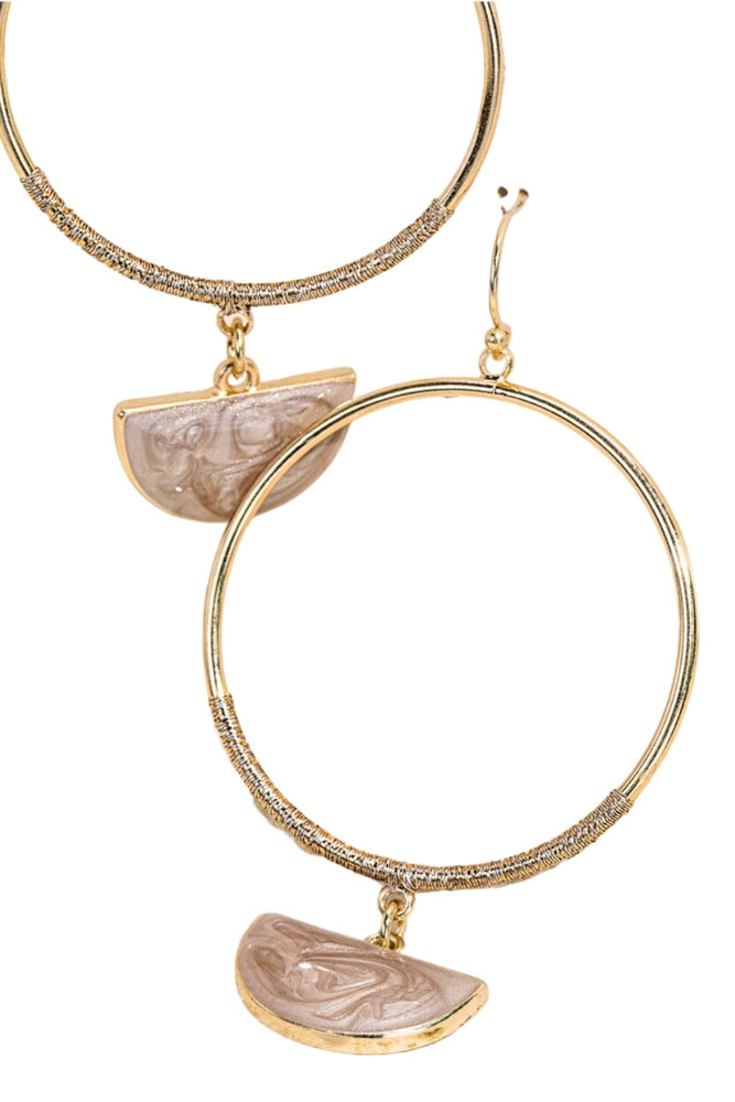 Light Pink Half Moon Charm Hoop Earrings