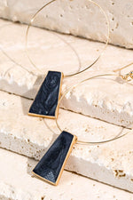 Gold Hoop Earrings w/ Black Trapezoid Charm