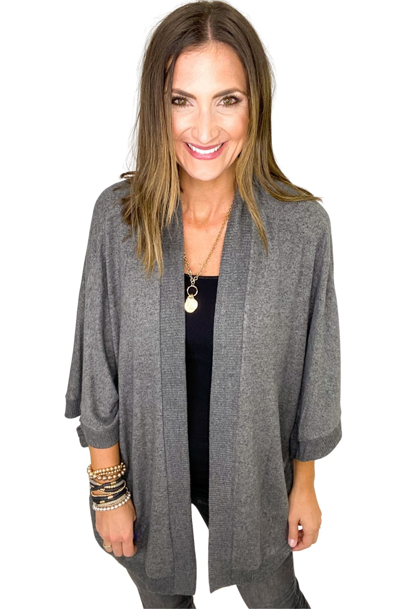 Charcoal Oversized Brushed Cardigan