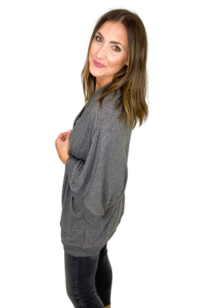 Charcoal Oversized Brushed Cardigan *FINAL SALE*