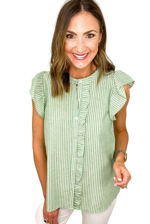 Load image into Gallery viewer, Green Stripe Flutter Sleeve Button Down Top *FINAL SALE*
