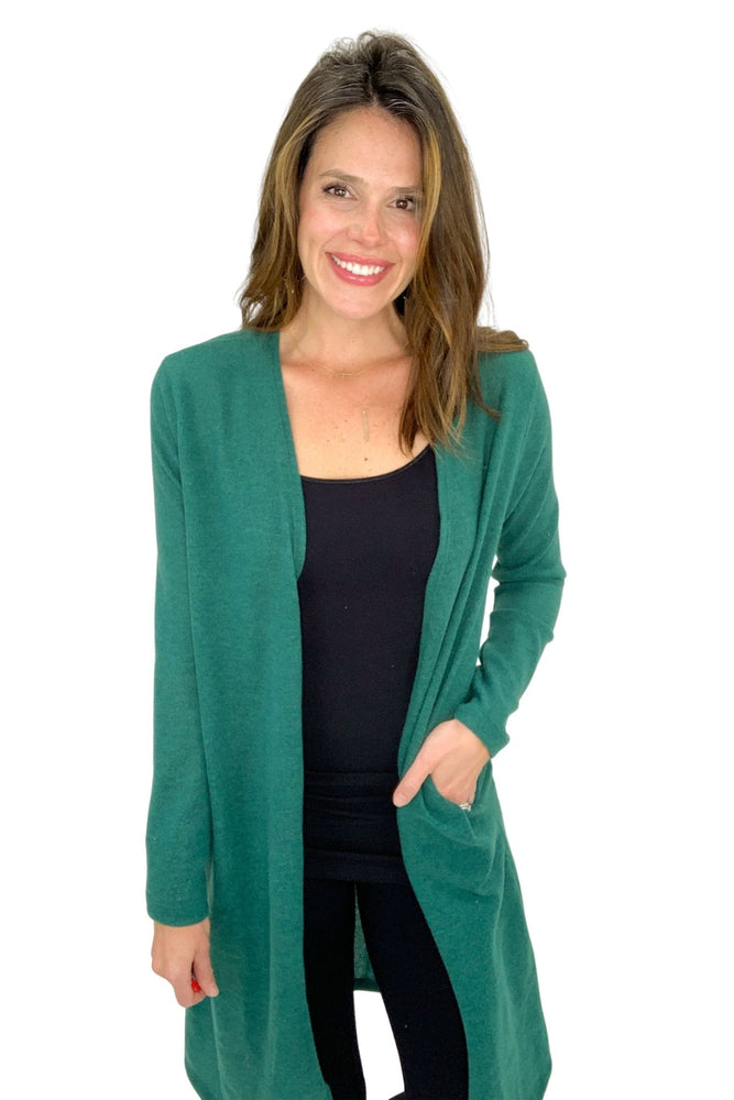 hunter green cozy long cardigan, cozy winter wear, shop style your senses by mallory fitzsimmons