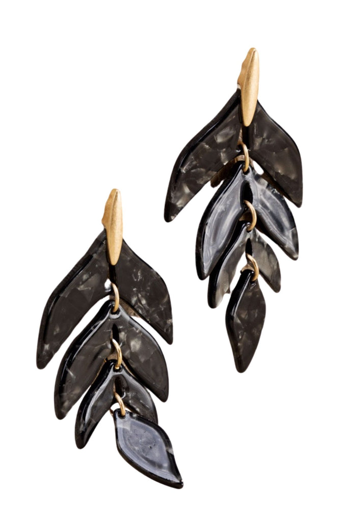 Black Marbled Acrylic Leaf Earrings