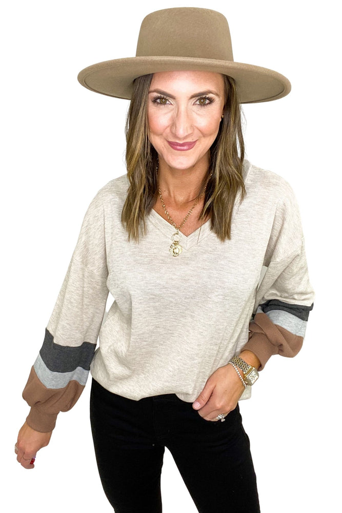 shop-style-your-senses-by-mallory-fitzsimmons-oatmeal-v-neck-top-with-balloon-sleeves-with-grey-charcoal-tan-color-block-sleeves-shades-of-october-fall-winter-women's-clothing-affordable-fashion-mom-style