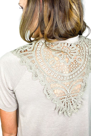 Load image into Gallery viewer, Mocha Lace V Back Top *FINAL SALE*