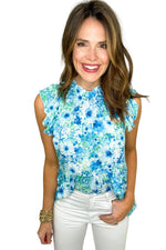 blue floral mock neck top with flutter sleeve, white skinny jeans, spring tops, shop style your senses by mallory fitzsimmons