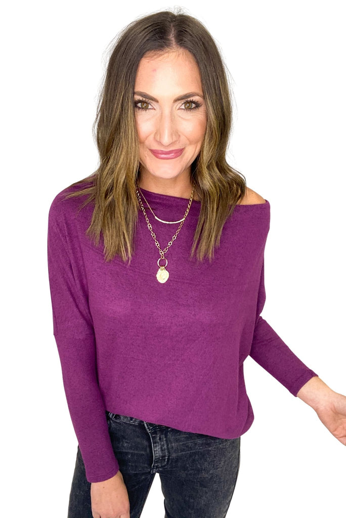 Plum Off The Shoulder Dolman Sleeve Top
