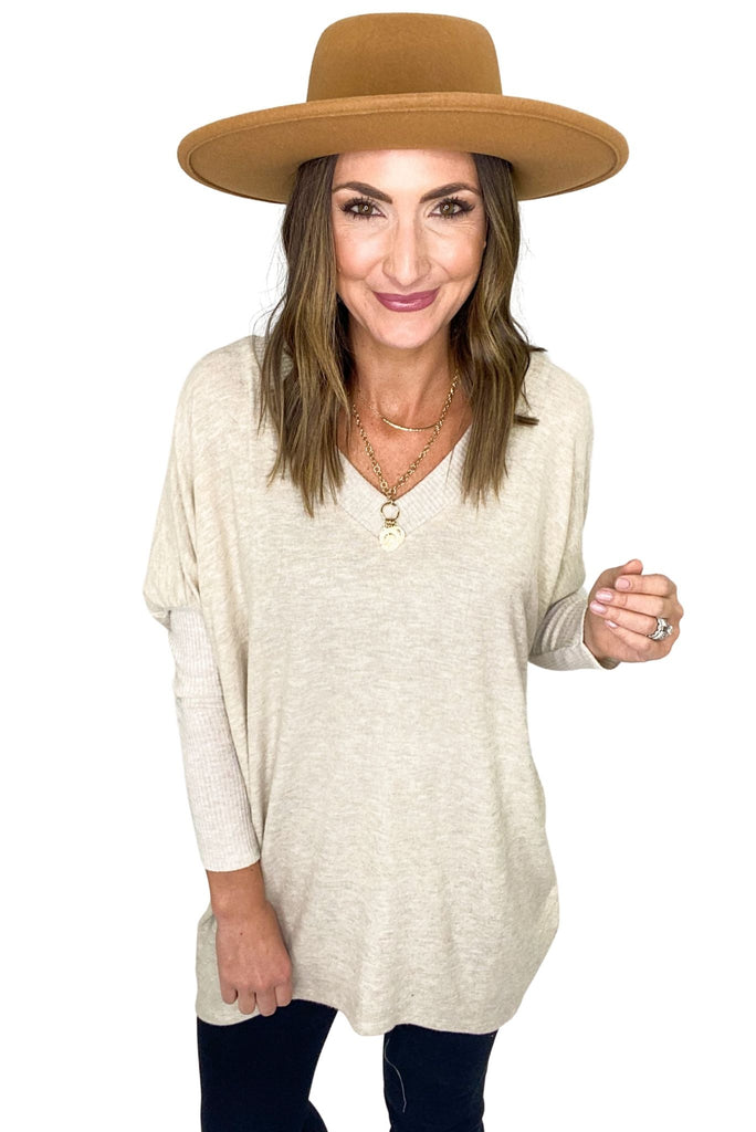 Oatmeal V-Neck Puff Sleeve Oversize Top