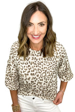 brown waffle knit animal print top, white skinny jeans, affordable style, shop style your senses by mallory fitzsimmons