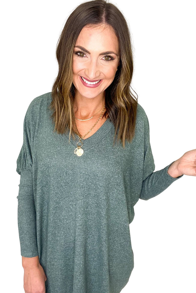 Heathered Green V-Neck Puff Sleeve Oversize Top
