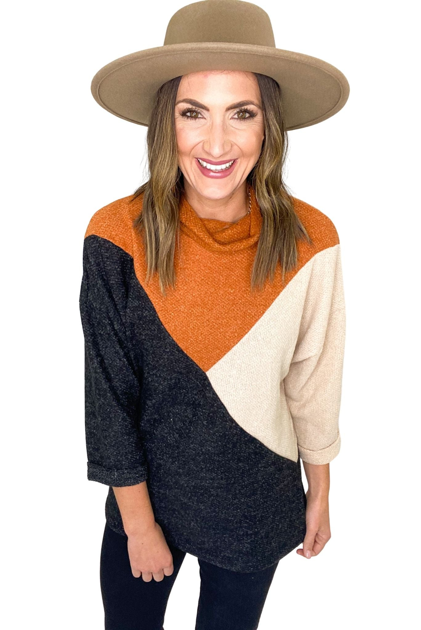 Charcoal Pumpkin and Tan Geometric Color Block Turtleneck Top