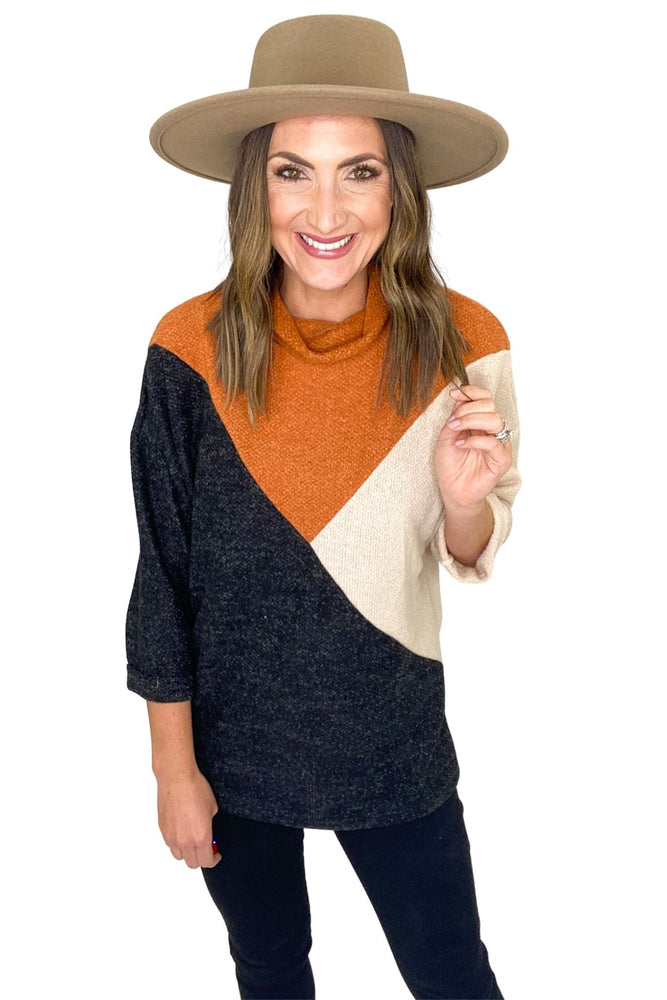 Charcoal Pumpkin and Tan Geometric Color Block Turtleneck Top *FINAL SALE*