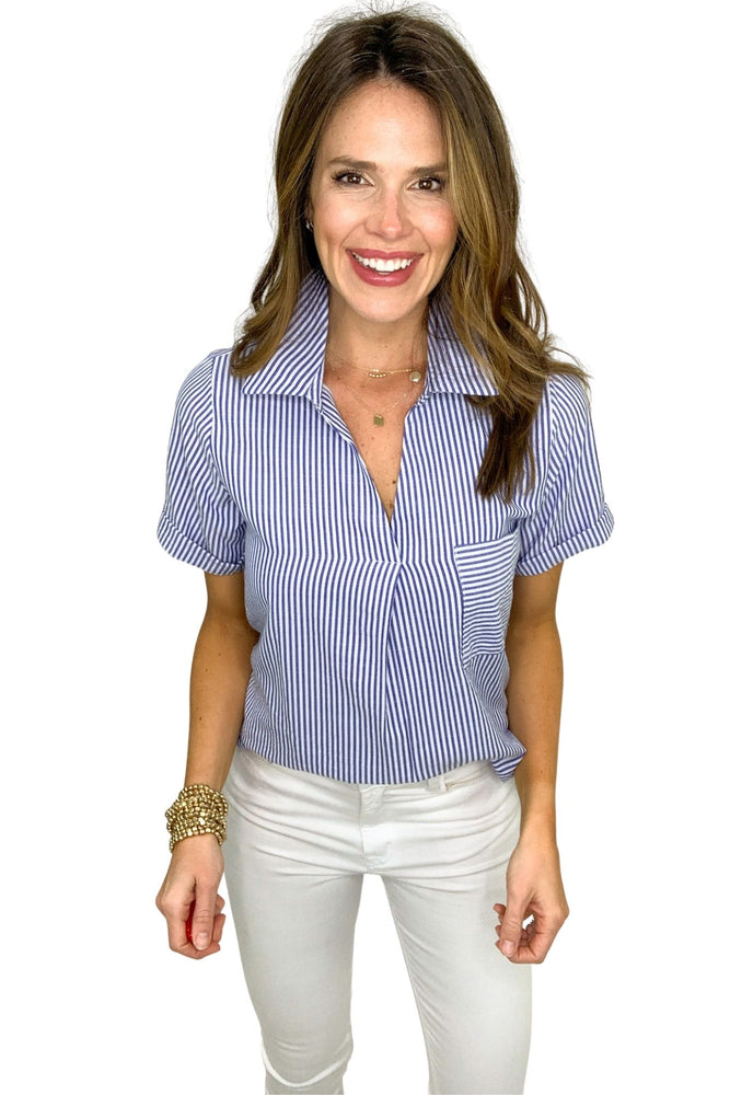 blue and white stripe short sleeve top with collar, white skinny jeans, spring tops, shop style your senses by mallory fitzsimmons