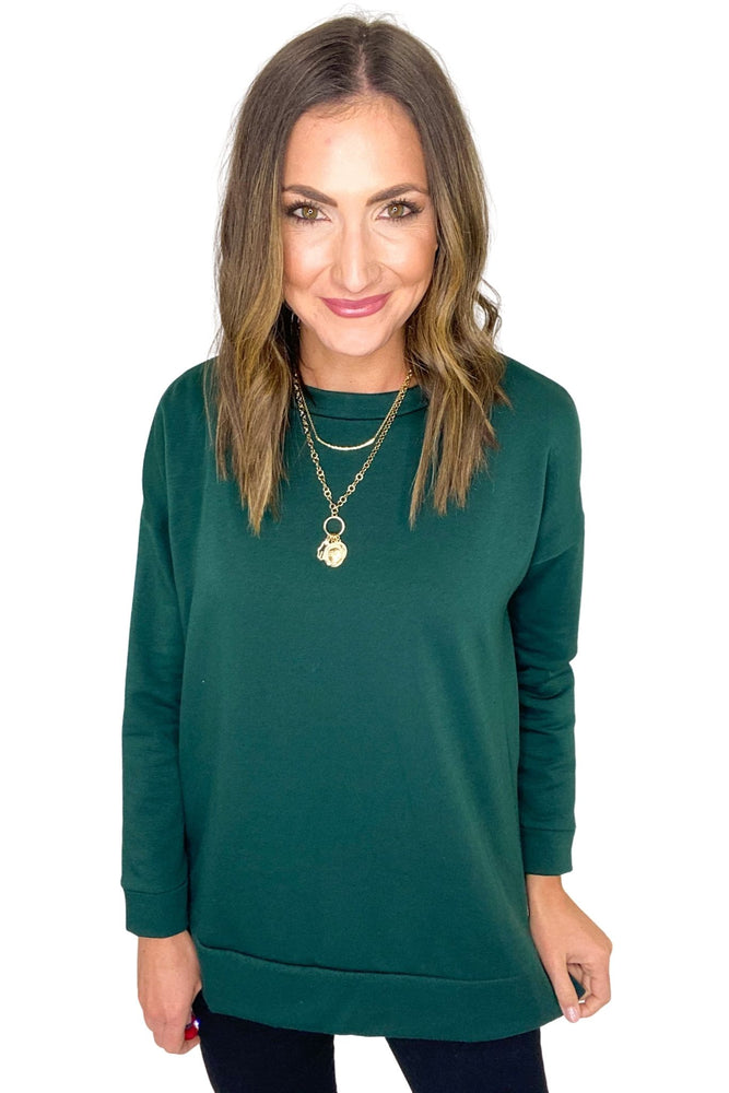 Hunter Green Sweatshirt with Side Slits *FINAL SALE*