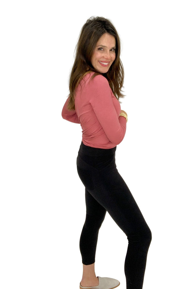 black cozy mid rise pants, spring tops, winter wear, shop style your senses by mallory fitzsimmons