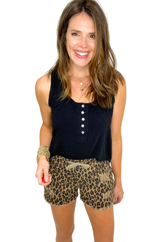 animal print denim shorts w/ drawstring, spring style, summer vibes, shop style your senses by Mallory Fitzsimmons