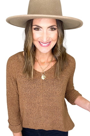 Chocolate Brown V-Neck 3/4 Cuffed Sleeve Knit Sweater