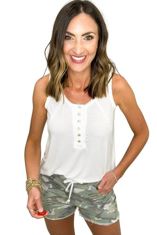 white button front tank with exposed hem, summer tops, closet staples, shop style your senses by mallory fitzsimmons